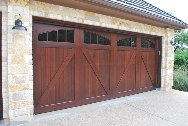 carriage house garage doorsSapele Mahogany Carriage House Garage Doors  Craftsman  Garage