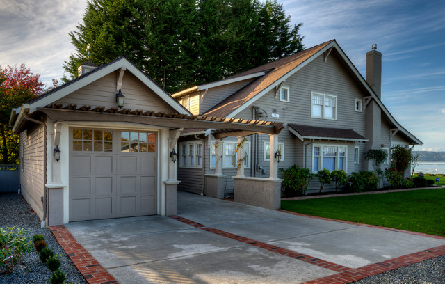 craftsman gray two story wood gable roof idea in seattle - Garage Addition