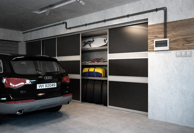Super Sliding doors garage storage space solutions ID15