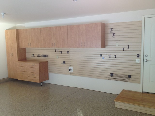 Tailored Living Garage Cabinets and Slatwall traditional-garage-and ...