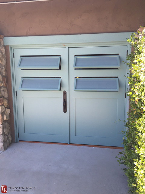 Teal carriage doors with frosted louvre windows rancho for Garage windows for sale