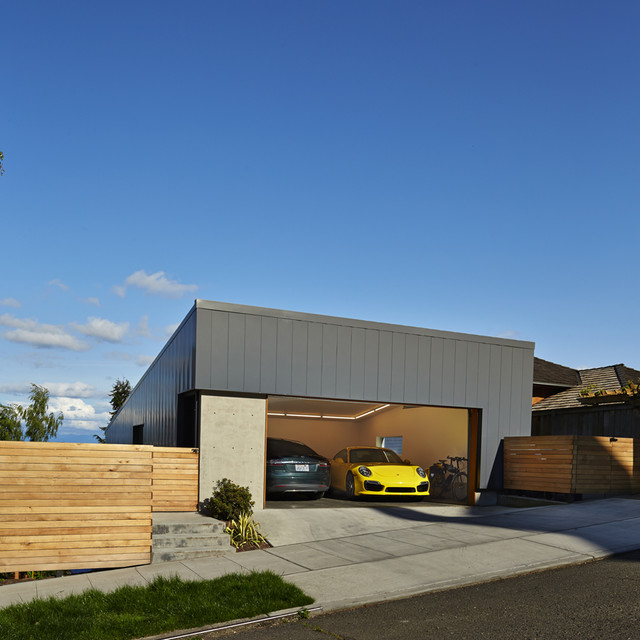 Inspiration for a small modern detached two-car garage remodel in Seattle