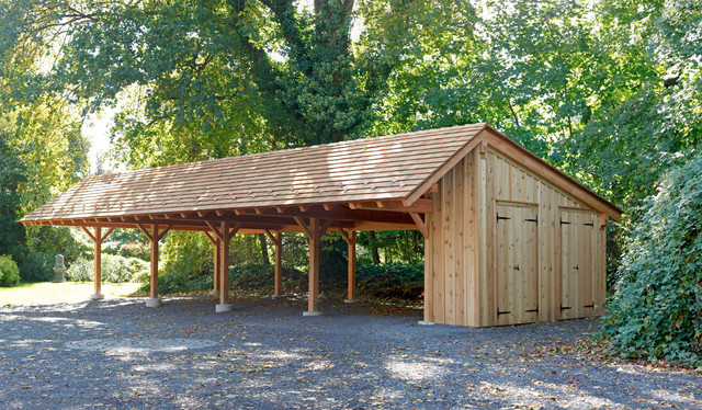 Timber frame carport in wynncote pa traditional for Traditional garage