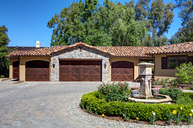 Tuscan remodel and addition mediterranean-garage-and-shed