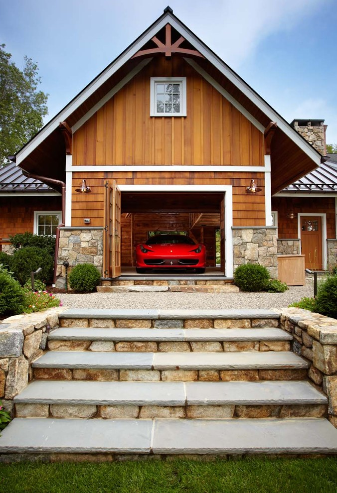 Example of a classic attached one-car garage design in New York