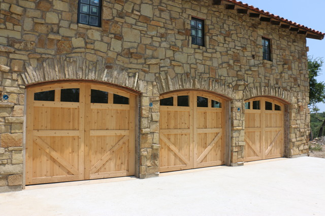 Vertical lift real wood overhead garage doors rustic for Cedar park overhead garage doors