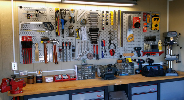 Wall Control Gray Garage Pegboard For Tool Storage Industrial Garage Atlanta By Wall Control