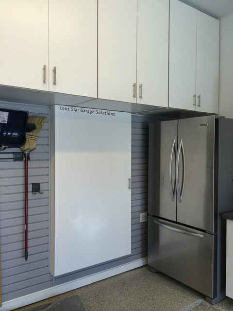 White Cabinets and hidden gun safe cabinet - Contemporary - Garage - Dallas - by Lone Star ...