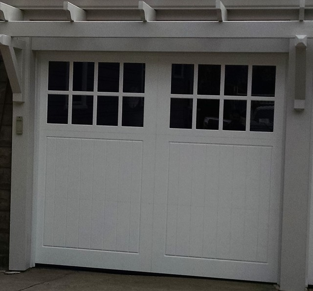 White Carriage House Garage Door With Square Windows Traditional