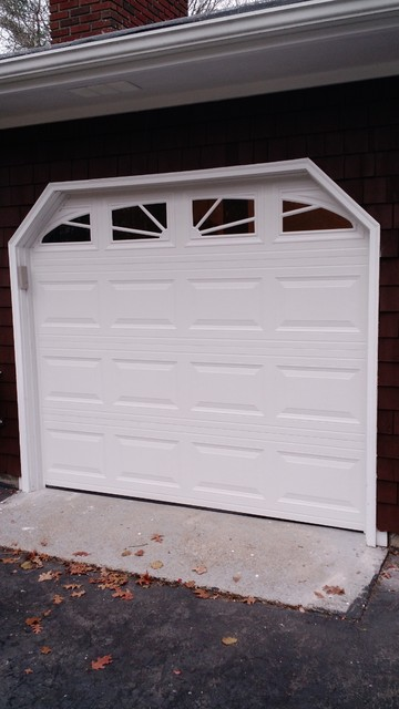 White Sectional Overhead Door With Curved Windows