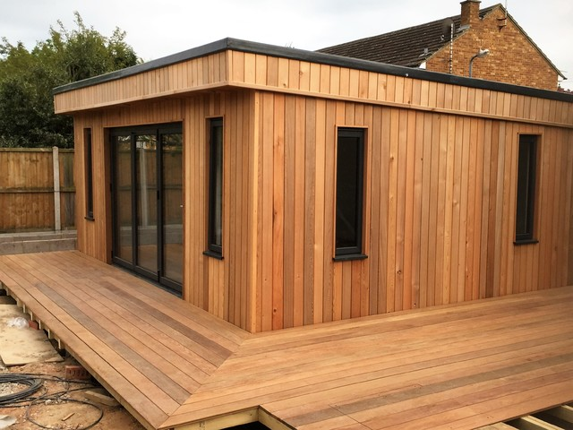 Cedar clad garden building contemporary garden shed for Velux cladding kit