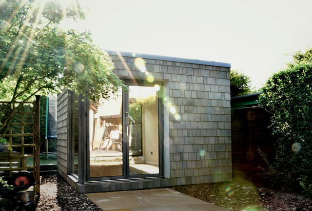 cedar shingle summer house edinburgh contemporary garden shed and building
