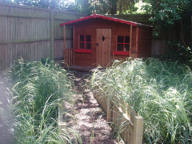 County family garden - contemporary - garage and shed - other ...