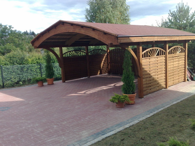 Ecocurves glue laminated carport nevada modern shed