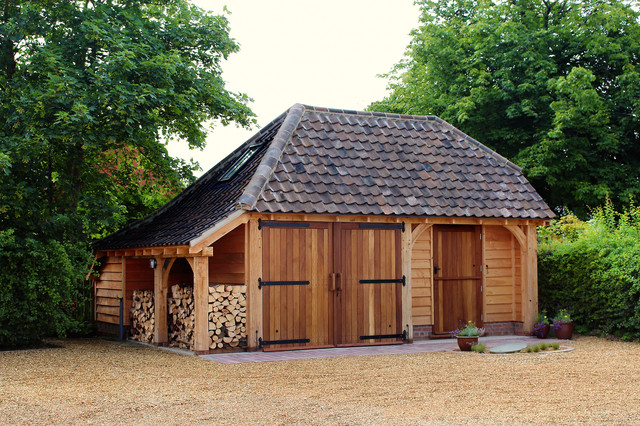 Attractive Oak Framed Garage Buildings And Barns Traditional Garden Shed And Building