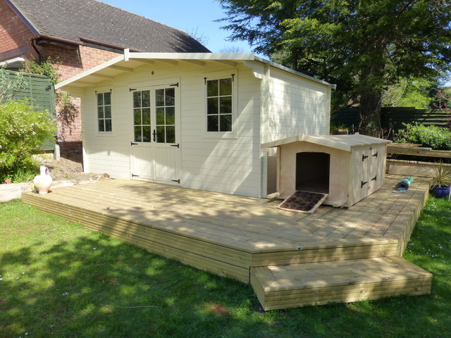 Summer house with decking custom made dog house for Summer homes builder