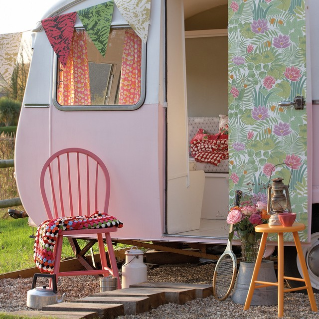 Vintage Inspired Decor In Retro Caravan Shabby Chic Style Garden Shed
