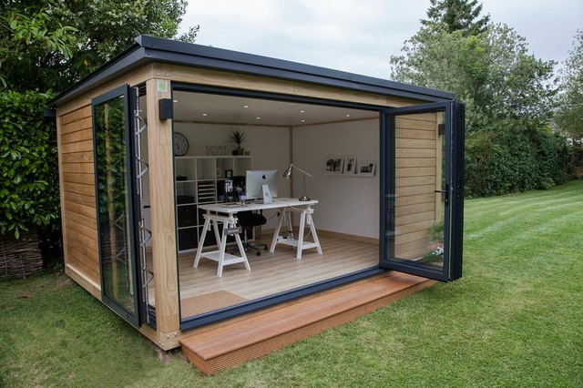 Working From Home Contemporary Garden Shed and Building West