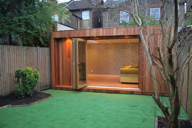 Contemporary garage and shed for House plans with garden room