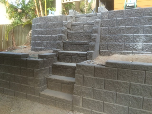 Austral Heron Block Steps And Retainer Wall Traditional