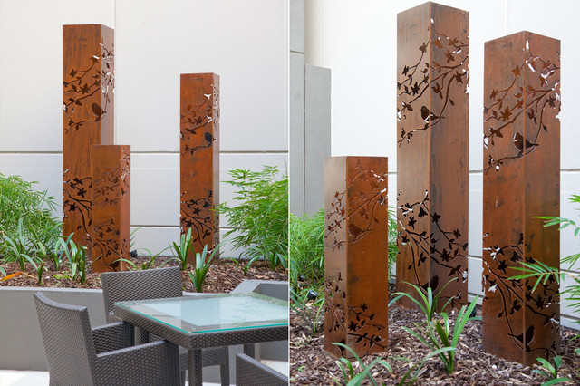 backyard garden sculptures metal art contemporain jardin melbourne par entanglements. Black Bedroom Furniture Sets. Home Design Ideas