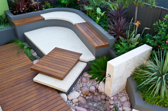 Photo of a small contemporary back full sun garden in Perth with a water feature and decking.