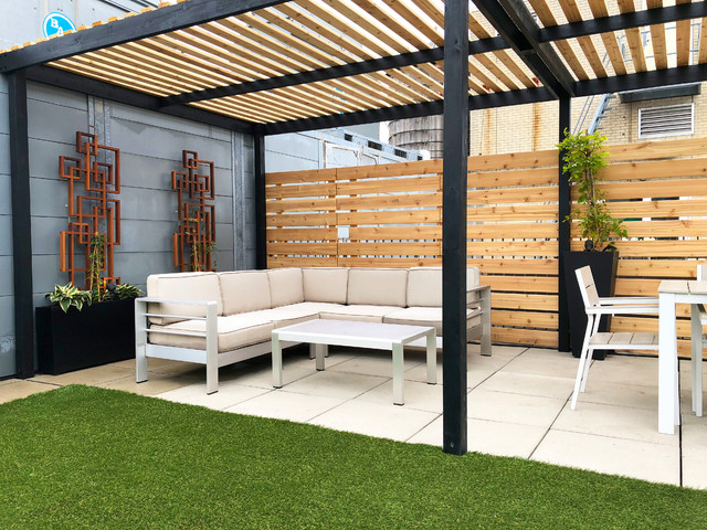 Chelsea Contemporary Roof Garden With Pergola And Lattices