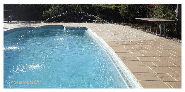 Contemporary landscaping pool surrounds landscape for Garden pool surrounds