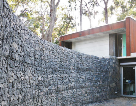 Curved gabion wall crafers modern landscape for Landscape contractors adelaide