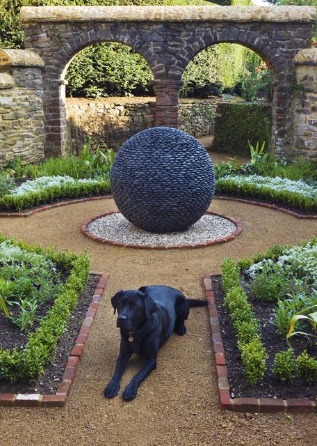 Dark Planet Garden Sculpture In Traditional Style Courtyard