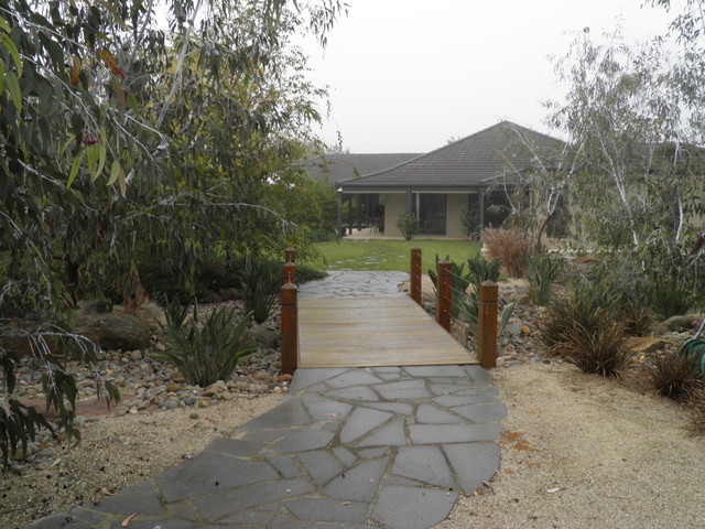Dry Creek Bed and Bridge contemporary-landscape