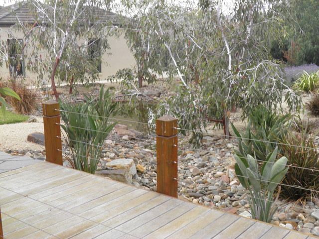 Hanging beds over water - Dry Creek Bed Water Wise Garden Contemporary Landscape