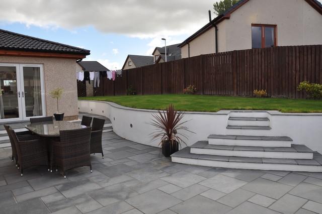 Garden Steps In Fairstone Black Limestone And Smooth White Render