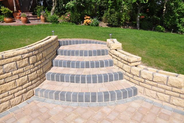 Garden Steps In Tegula Blocks With KL Kerbs Traditional Landscape
