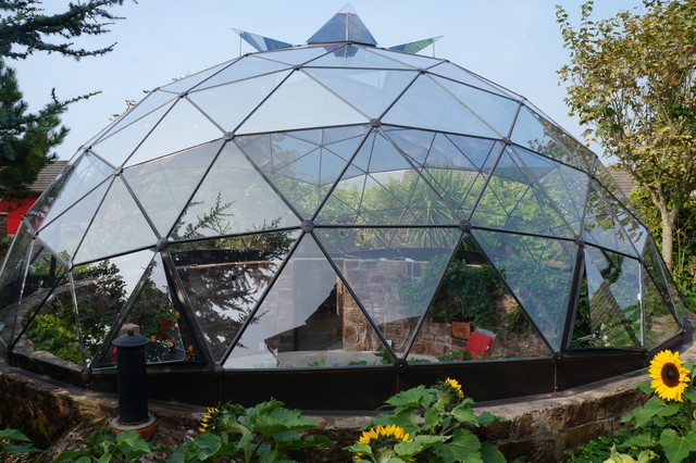Geodesic dome skylight over sunken garden Contemporary Garden