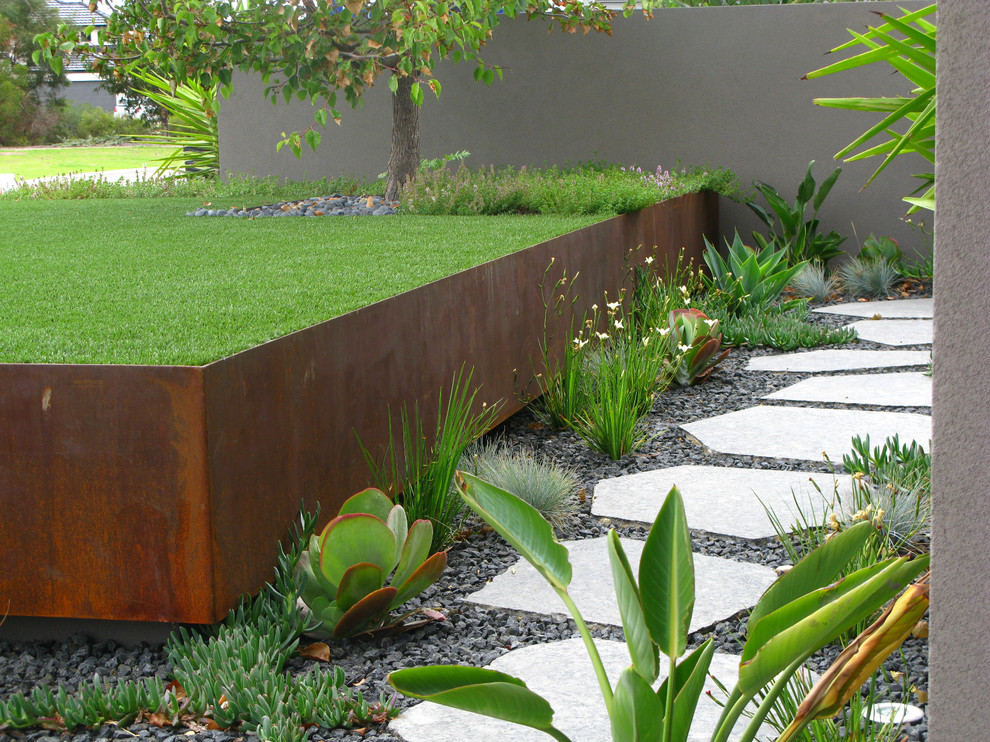 Photo of an industrial retaining wall landscape in Perth.
