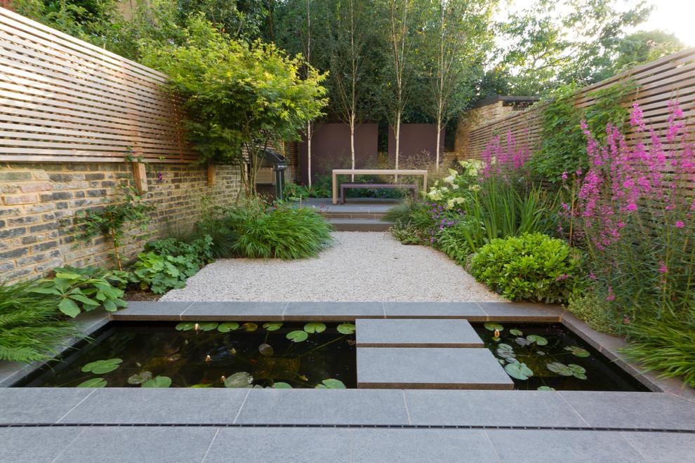 Design ideas for an asian backyard water fountain landscape in London.