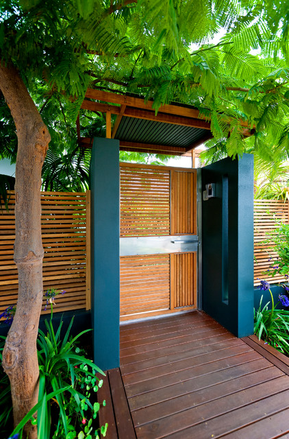 Inspiration for a small contemporary front yard garden path in Perth with decking.
