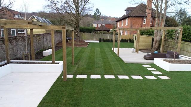 Large Back Garden Redesign In Reigate Modern Garden Surrey