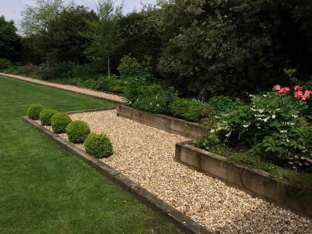 Large railway sleeper garden in Cheshire - Contemporary ...