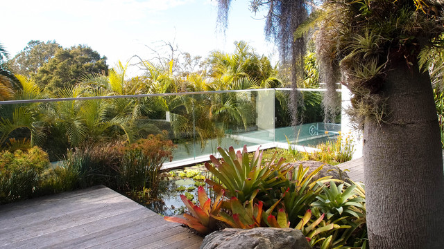 This is an example of a contemporary backyard water fountain landscape in Sydney.
