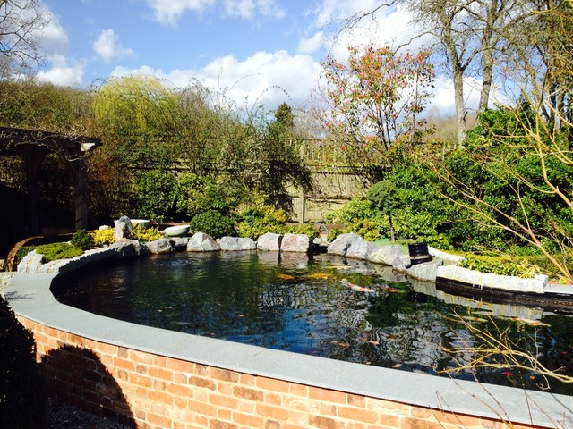 Planting around koi pond for Landscaping around koi pond