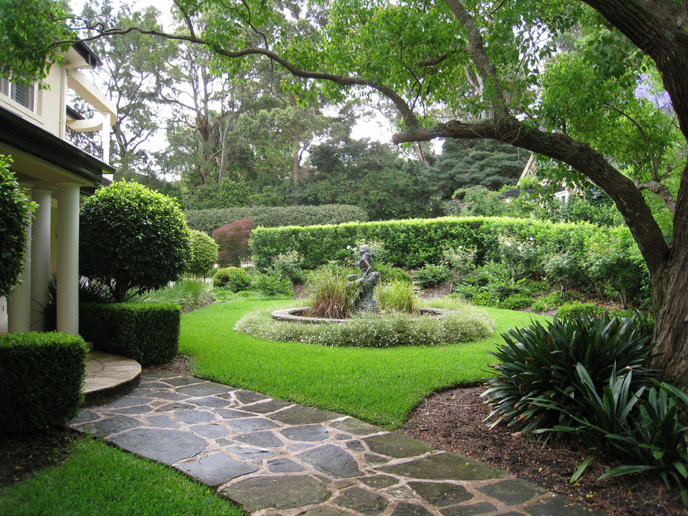 Photo of a traditional front yard water fountain landscape in Sydney.