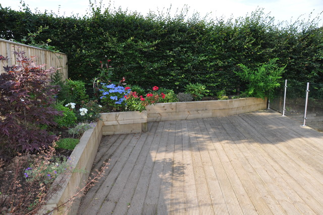 Raised Planters Constructed From Sleepers Form Edging To