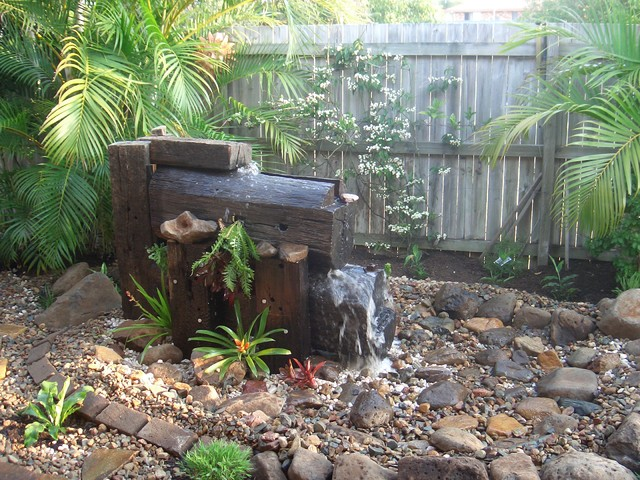 rustic water feature rustic garden sunshine coast