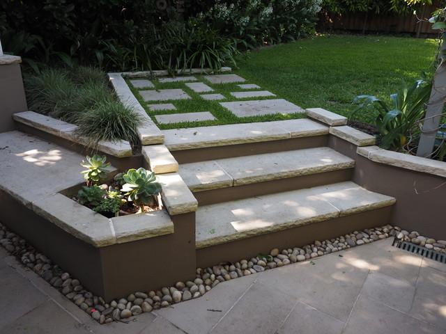 Sandstone seat steps and pavers modern landscape