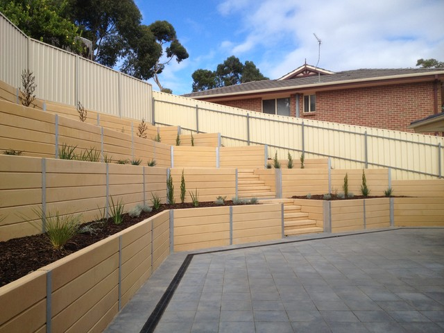 Sleeper retaining walls modern garden adelaide by for Retaining wall contractors adelaide