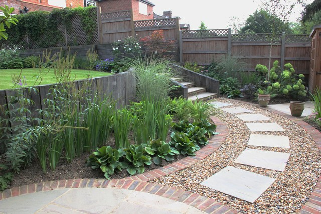 Sloping garden in north london n20 landscape london for Garden design north london