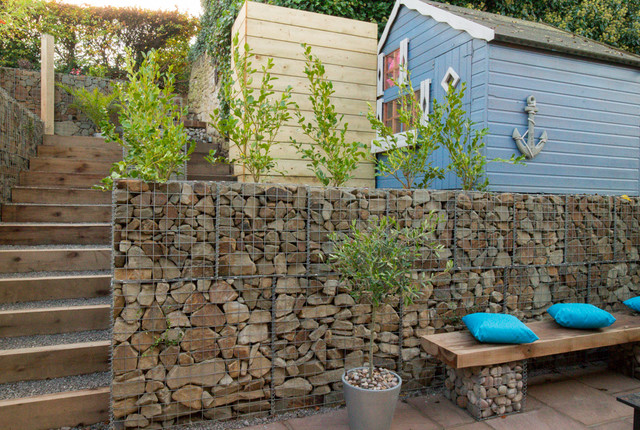 Steep Backyard Ideas : Small garden with a very steep slope  Contemporary  Landscape