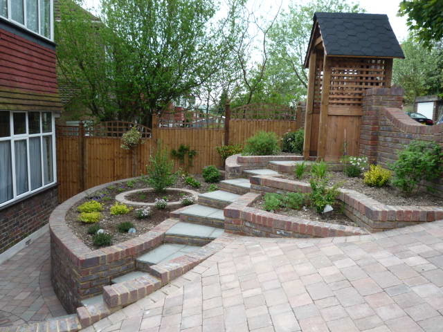 Steeply sloping front garden - Traditional - Garden ... on Sloping Gardens Design Ideas id=41245